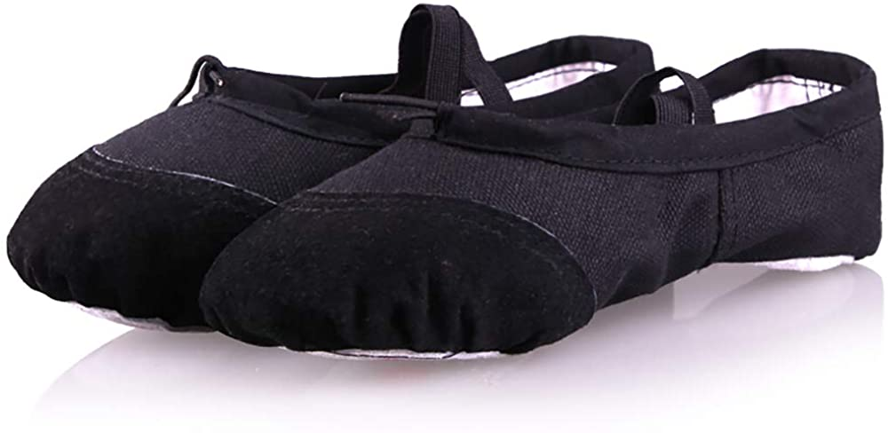 Twist N Turns Wear - Black Ballet Shoes, Canvas Dance Shoes for Girls, Children's Ballet Yoga Practice Dance Shoes (Protected with Leather Covers with Suede Sole) (Toddler/Little Kid/Big Kid)