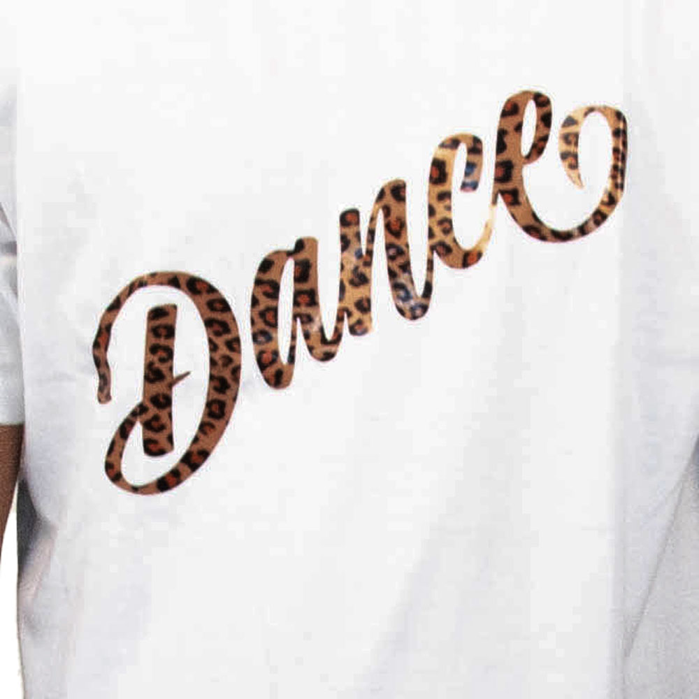White T-Shirt ( Dance Tiger Vinyl  Print)