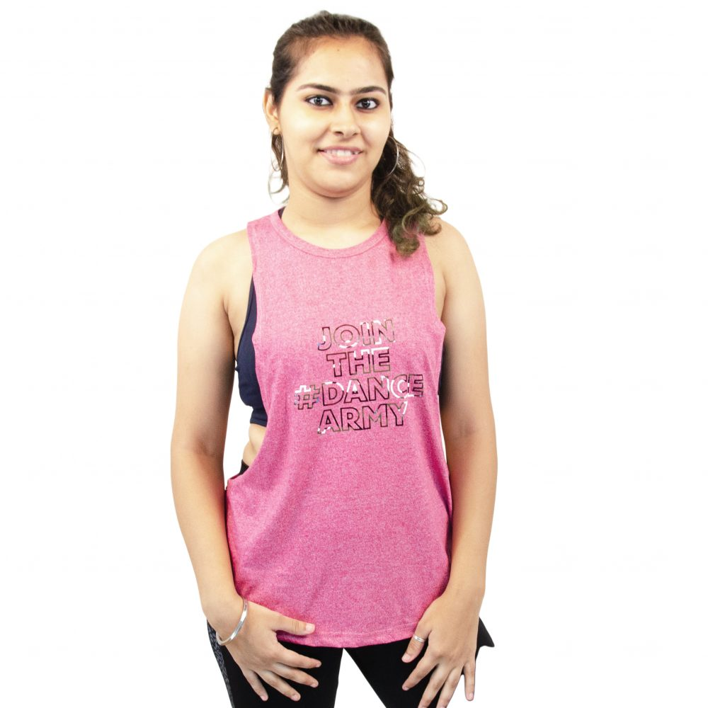 PINK -Girls Tank Top Round Neck ( JOIN THE #DANCE ARMY Premium Print ) for Dance and Zumba